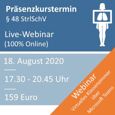 Strahlenschutzkurs am 18.08.2020 Webinar (100% Online)