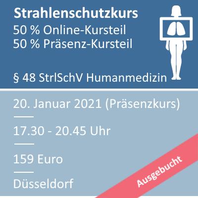 Strahlenschutzkurs am 20.01.2021 in Düsseldorf ausgebucht