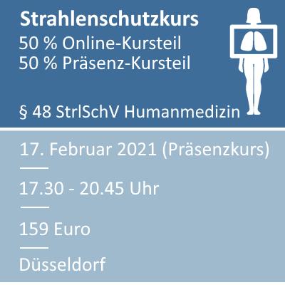 Strahlenschutzkurs am 17.02.2021 in Düsseldorf